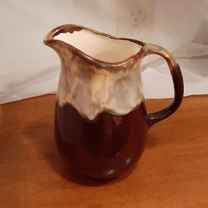 Vintage Brown and Pearlescent Glazed Pitcher